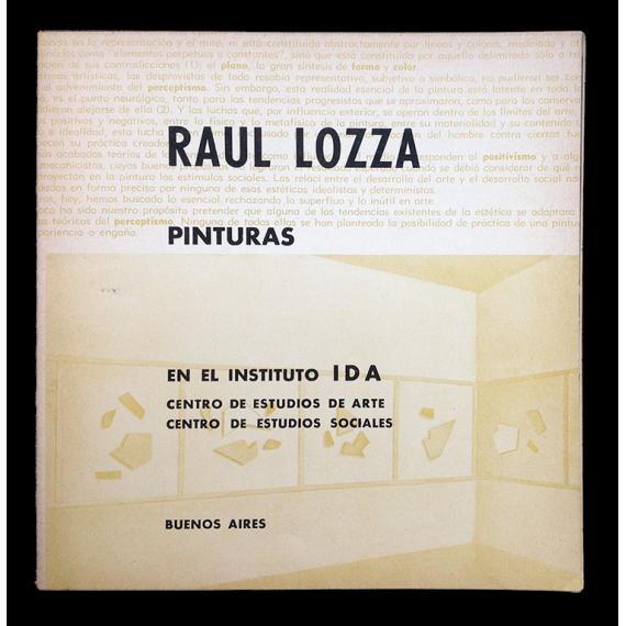 Raúl Lozza. Pinturas en el  Instituto IDA, Buenos Aires, del 2 al 17 de setiembre [1968]