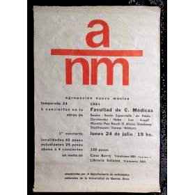 ANM Agrupación Nueva Música. Temporada 24, 1961. 4 conciertos en la Facultad de C. Médicas