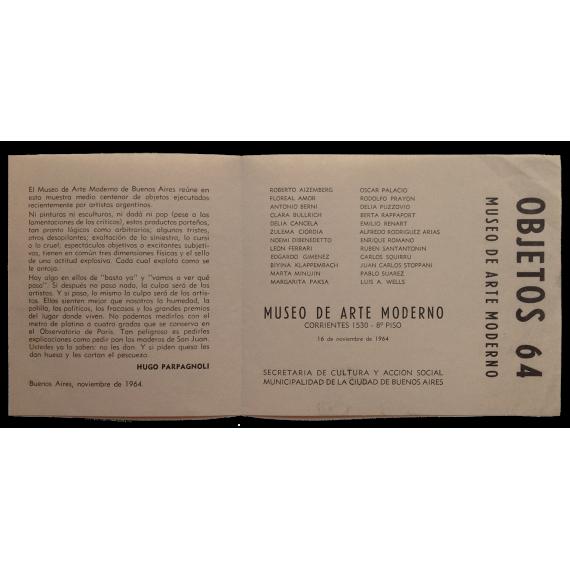 Objetos 64. Museo de Arte Moderno, Buenos Aires, 16 de noviembre de 1964