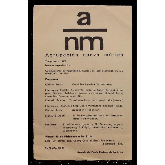 ANM Agrupación Nueva Música. Temporada 1971