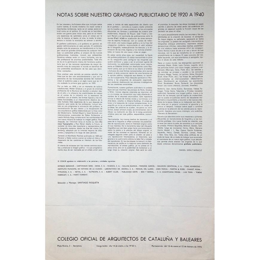 cartel exposición grafismo publicitario colegio de arquitectos
