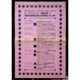 """Programa d'actes amb motiu de l'exposicio """"ADLAN i testimoni de l'epoca 32-36"""""""