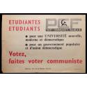 Etudiantes, etudiants, Votez, faites voter communiste. PCF Parti Communiste Français