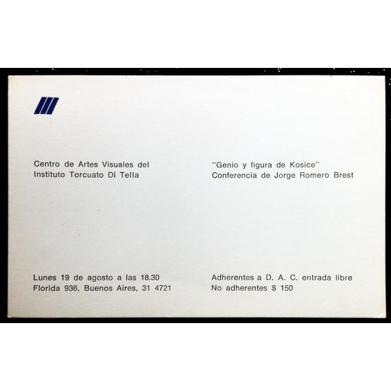 """""""Genio y figura de Kosice"""". Conferencia de Jorge Romero Brest"""