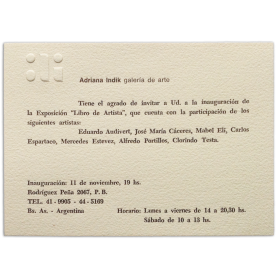 Libro de Artista. Adriana Indik galería de arte, Buenos Aires, 11 de noviembre