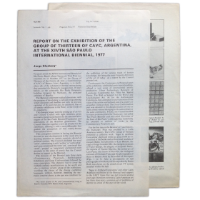 Report on the exhibition of the Group of Thirteen of CAyC, Argentina, at the XIVth Sao Paulo International Biennial, 1977