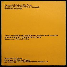 """Homenagem ao """"Pucará de Tilcara"""", Pinacoteca do Estado, Sao Paulo, Brasil, 20 de abril de 1976"""