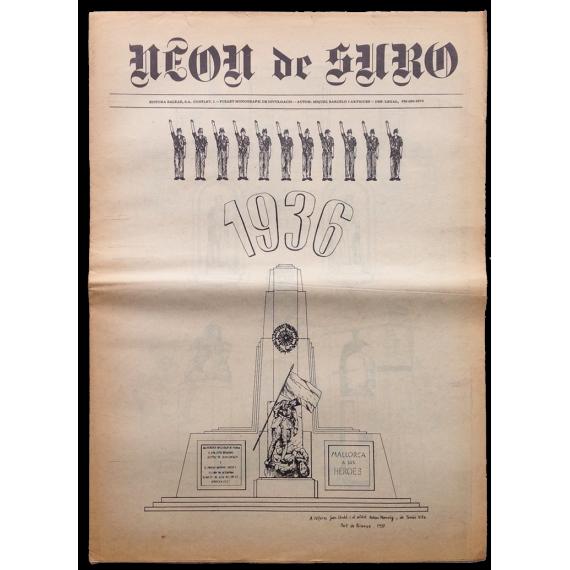 """Neon de Suro. Fullet monogràfic de divulgació. Autor: Miquel Barceló i Artigues, """"1936"""". 1976"""