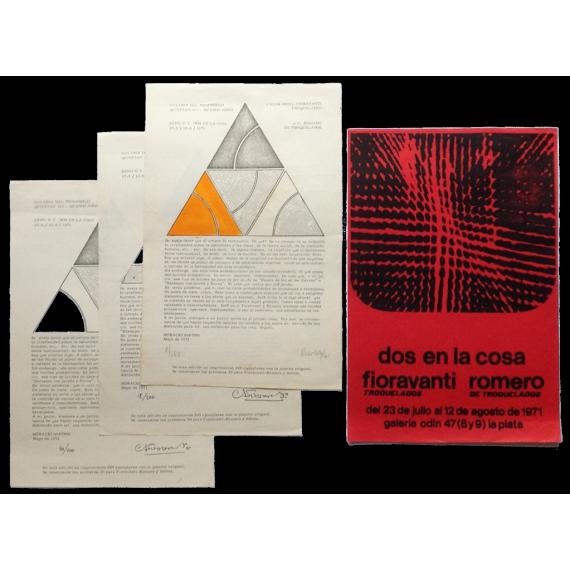 Dos en la cosa: Fioravanti - Romero (troquelados). Galería Odin, La Plata, del 23 de julio al 12 de agosto de 1971