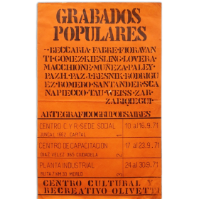 Grabados populares. Arte Gráfico Grupo Buenos Aires. Centro Cultural y Recreativo Olivetti, septiembre 1971