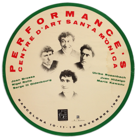 Performances: Brossa, Rolfe, Oldenbourg, Rosenbach, Hidalgo y Kawazu. Centre d'Art Santa Mònica, Barcelona, novembre 1989
