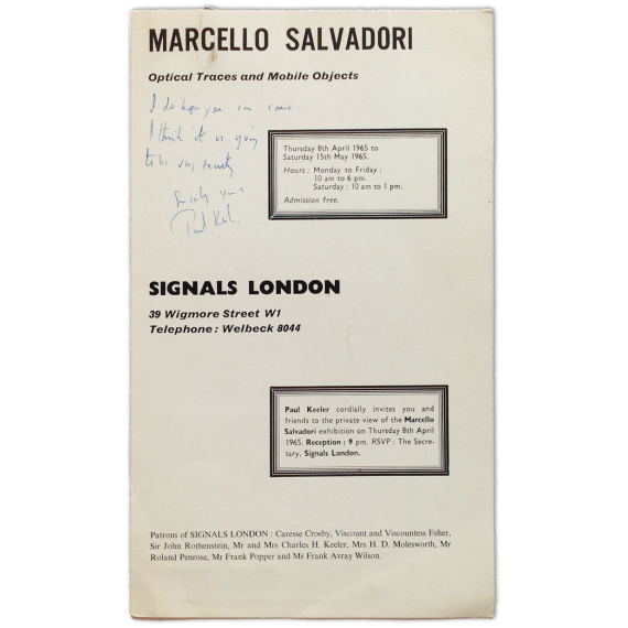 Marcello Salvadori - Optical Traces and Mobile Objects. Signals London, April to May 1965