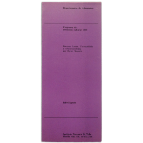 Jacques Lacan. Psicoanálisis y estructuralismo por Oscar Masotta.  Instituto Torcuato Di Tella, Buenos Aires, Julio-Agosto 1969