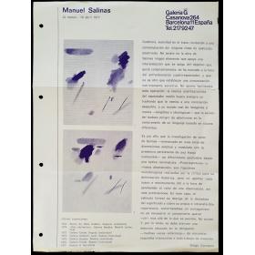 Manuel Salinas. Galería G, Barcelona, 22 marzo-16 abril 1977