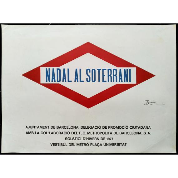 Nadal al soterrani. Vestíbul del metro Plaça Universitat, Barcelona, Solstici d'Hivern de 1977