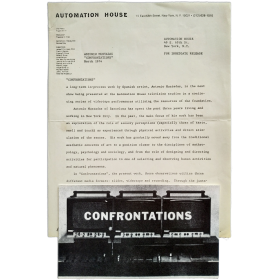 Muntadas - Confrontations, 3 sessions/activities. Automation House, New York, 8, 15, 26 March [1974]