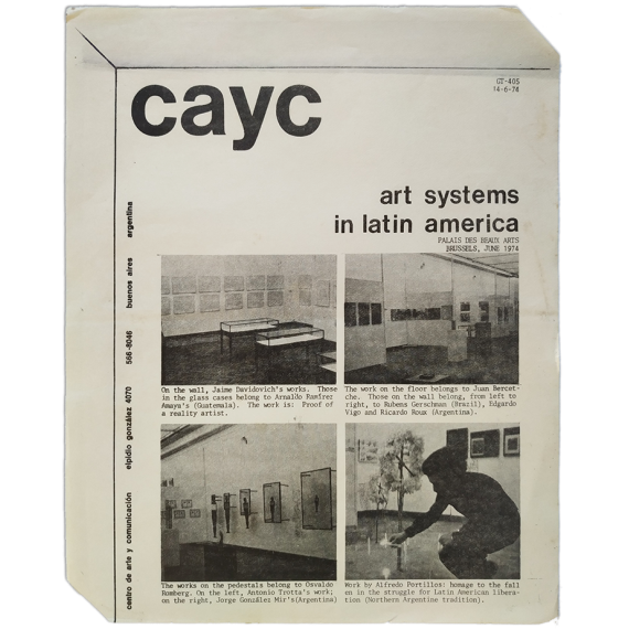 Art Systems in Latin America. Palais des Beaux Arts, Brussels, June 1974