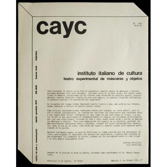 Teatro experimental de máscaras y objetos. Instituto Italiano de Cultura, Buenos Aires, agosto de 1976