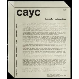 Fotografía Tridimensional. CAyC, Buenos Aires, 14 de Enero al 12 de Febrero de 1972