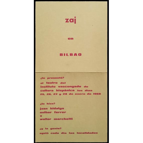 Zaj en Bilbao. Teatro del Instituto Vascongado de Cultura Hispánica, 25, 26, 27 y 28 de enero de 1968