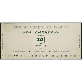 """""""La Cazuela"""" presenta zaj en Alcoy con Juan Hidalgo, Esther Ferrer y Walter Marchetti. 2 de marzo de 1968"""