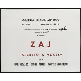 """Concierto Zaj """"Secreto a voces"""" con Juan Hidalgo, Esther Ferrer, Walter Marchetti. Galería Juana Mordó, 22 de noviembre 1976"""
