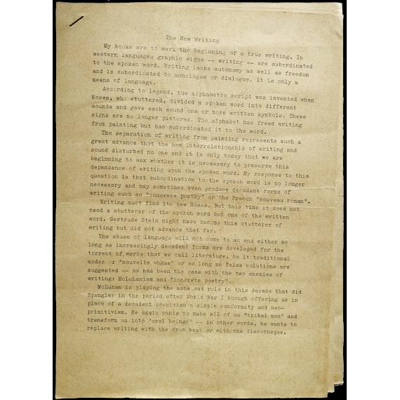 The New Writing - José Luis Castillejo, Bonn 1969