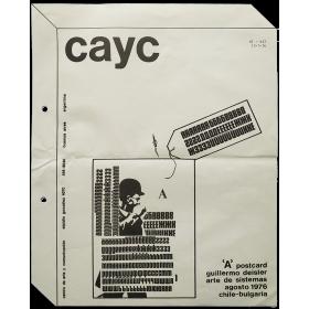 'A' postcard - Guillermo Deisler - Arte de Sistemas, agosto 1976 - Chile-Bulgaria. CAyC, Buenos Aires, 1976