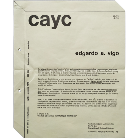 Edgardo A. Vigo - Art Systems dans Latinoamerica. CAyC dans Internationaal Cultureel Centrum, Antwerpen, Bélgique, Avril-Mai 73