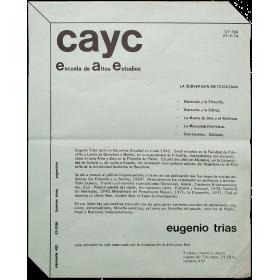 Eugenio Trías - La subversión nietzscheana. CAyC, Escuela de Altos Estudios, Buenos Aires, mayo 1974