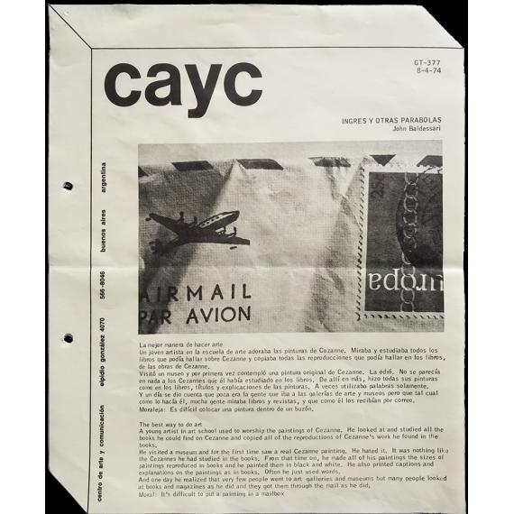 John Baldessari - Ingres y otras parábolas. CAyC Centro de Arte y Comunicación, Buenos Aires, abril 1974