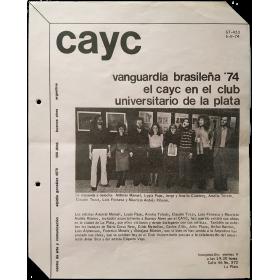 Vanguardia brasileña '74. El CAyC en el Club Universitario de La Plata, Argentina, agosto de 1974