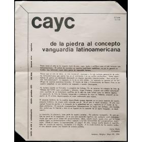 De la piedra al concepto vanguardia latinoamericana - Jonier Marin. CAyC, Amberes, Bélgica, mayo 1974