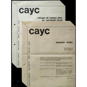 Abraham Moles - Programa científico para el Centro de Arte y Comunicación (CAyC). Buenos Aires, Julio 1975
