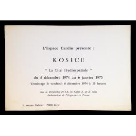 """Kosice. """"La Cité Hydrospatiale"""". Espace Cardin, Paris, du 6 décembre 1974 au 6 janvier 1975 (Vernissage)"""