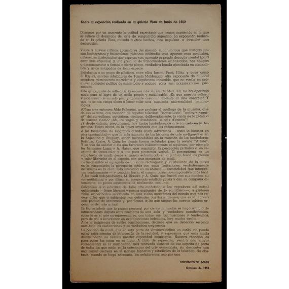 Sobre la exposición realizada en la galería Viau en Junio de 1952 - Movimiento Madí, Octubre de 1952