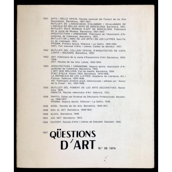 Qüestions d'art. La revista catalana d'art actual. Any V. Nº 28