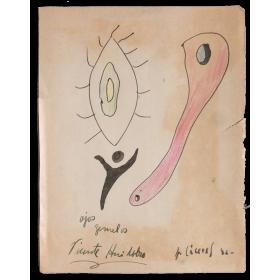 """""""Ojos gemelos"""" - Dibujo original Jorge Cáceres, Vicente Huidobro"""