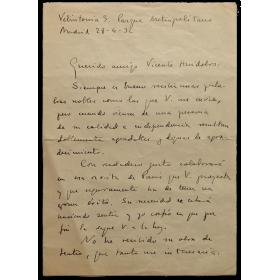 Carta manuscrita - Vicente Aleixandre