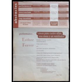 """Performance """"Cánon para cuatro sillas, una mesa y un ventilador"""" - Esther Ferrer. Casa de Cultura de Girona, maig 1996"""