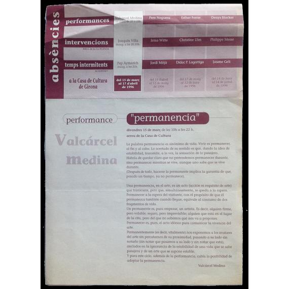 """Performance """"Permanencia"""" - Valcárcel Medina. Casa de Cultura de Girona, març 1996"""