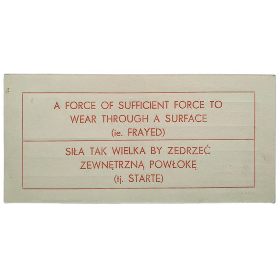 A Work in a Context - Lawrence Weiner. Galeria Akumulatory 2, Poznan, 1-XII-1980