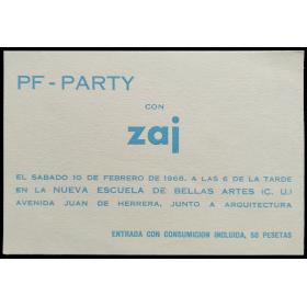 PF-PARTY con zaj. Nueva Escuela de Bellas Artes (C. U.), [Madrid], 10 de febrero de 1968