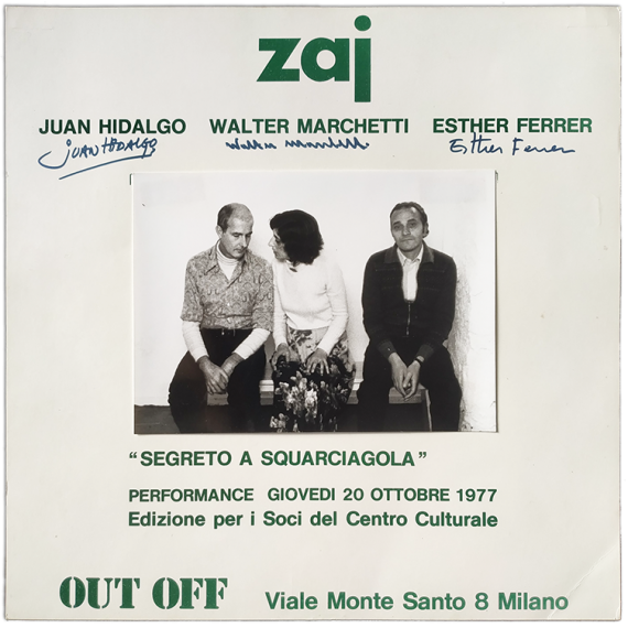 "ZAJ ""Segreto a squarciagola"" - Juan Hidalgo, Walter Marchetti, Esther Ferrer. Performance 20 ottobre 1977, Out Off, Milano"