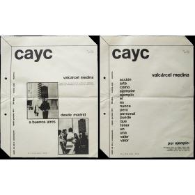 Valcárcel Medina. CAyC Centro de Arte y Comunicación, Buenos Aires, Julio 1976
