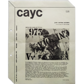 Juan Carlos Romero, of the Group of Thirteen. CAyC, Centro de Arte y Comunicación, Buenos Aires, abril 1973