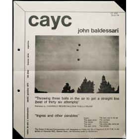 John Baldessari. CAyC Centro de Arte y Comunicación, Buenos Aires, Agosto 1974