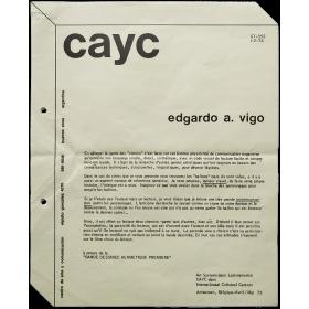 Edgardo A. Vigo - Art Systems dans Latinoamerica. CAyC dans Internationaal Cultureel Centrum, Antwerpen, Bélgique, Avril-Mai 73