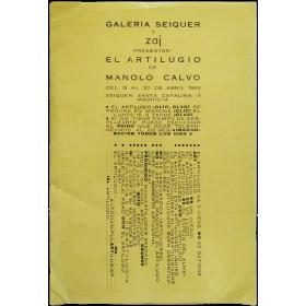 """Galería Seiquer y Zaj presentan """"El Artilugio"""" de Manolo Calvo. Madrid, del 15 al 20 de abril 1968"""