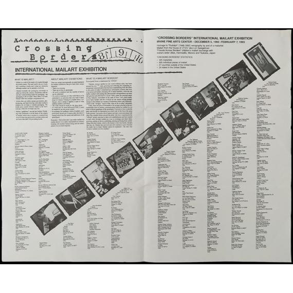Crossing Bordes - International mailart exhibition. Irving Fine Arts Center, December 5, 1992 - February 7, 1993